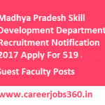 MPDT Guest Faculty Recruitment 2017 Apply Online for 519 Guest Faculty Posts at www.mpdt.nic.in