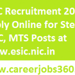 ESIC Rajasthan Recruitment 2018 Apply Online for Stenographer, UDC, MTS Posts at www.esic.nic.in