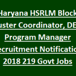 HSRLM Block Cluster Coordinator Recruitment 2018 Apply for 219 BPM, DEO, Accountant Posts at www.hsrlmonline.in