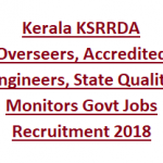 KSRRDA Overseers Recruitment 2018 Apply Offline for 65 Kerala Overseers, Accredited Engineers Posts at www.ksrrda.kerala.gov.in