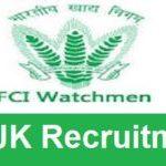 JK FCI Watchman Recruitment 2018 Apply for 62 Jammu & Kashmir FCI Watchman Posts at www.fcijobsjk.com