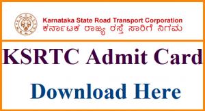 KSRTC Admit Card 2018