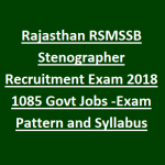 RSMSSB Stenographer Recruitment 2018 || Apply for 1085 Stenographer Posts at rsmssb.rajasthan.gov.in