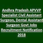 APVVP Civil Assistant Surgeons Recruitment 2018 Apply for 190 Dental Assistant Surgeons Posts at www.apvvp.com