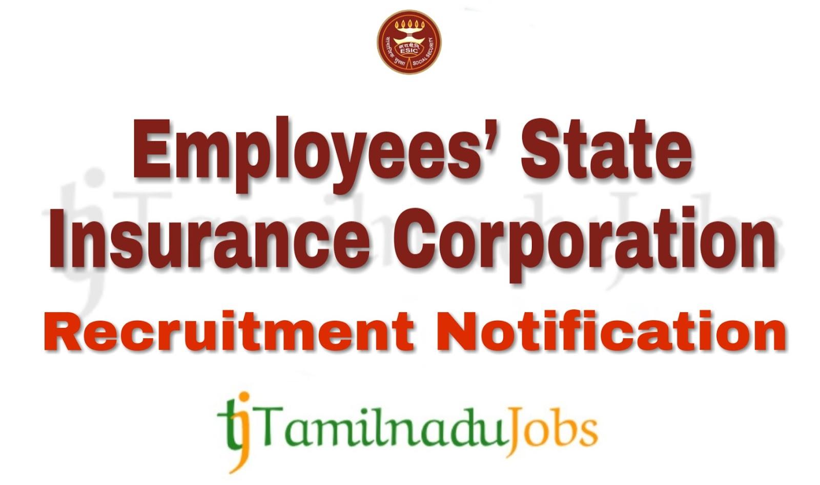 ESIC Tamil Nadu Recruitment 2019