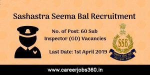 SSB Sub Inspector Recruitment 2019